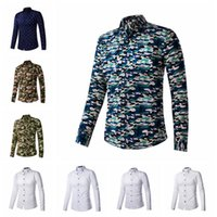 anchor shirt - 2015 Mens Slim Camouflage Anchors fit Unique neckline stylish Dress long Sleeve casual shirt Mens dress shirts colors BY DHL