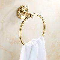 bathroom hardware sets - Golden Polished Brass Towel Rings Stainless Steel Nickel Towel Rings Wall Mounted Bathroom Hardware Sets AUS2