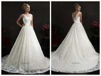 Cheap 2015 Amelia Sposa Maritza A Line Wedding Dresses Sheer Bateau Sleeveless Backless Ivory Lace Buttons Applique Chapel Train Wedding Gowns