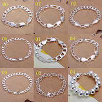 Link, Chain curb link chain - Promotion Multi Styles Of Fashion Bracelet Men s Boys Sterling Silver Jewelry Curb Figaro Chains
