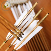 fletching - High Quality Archery cm Bamboo Arrows Traditional Hunting Points Real Fletching Shaft For Compound Recurve Bow