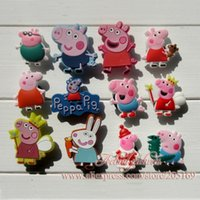 Wholesale Hot Sale Peppa Pig PVC Shoe Charms For Silicone Wristbands shoes with holes Kids Toy Charm Decoration Shoe Accessories
