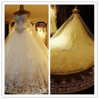 Wholesale 2015 Luxury Wedding Dresses Ball Gown Sweetheart Lace up Sleeveless Monarch Train Applique Beads Crystal Backless Classics Fit Dresses