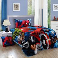 bedroom sets men - Spiderman bedding set spider man kids twin size flannel bed sheet quilt duvet cover bedspread children boys bedroom linen single
