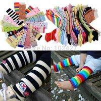 Cheap 6Pairs lot Baby Boy Girls Infant Toddler Kids Rainbow Zebra Leggings Leg Warmers Football Casual Autumn Wear