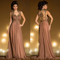 Wholesale 2015 Elegant Mother s Dresses Gold Appliques Mother of the Bride Groom Dress Mnm couture A Line V Neck Cap Sleeve Long Formal Evening Gowns