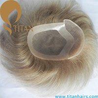 men hair toupee - blond cm brazilian Human Hair Toupee for men MONO with PU around Men s Wig natural wave men s toupee