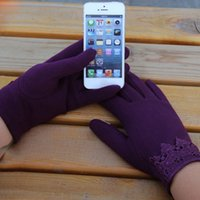 Wholesale One Pair Fashion Women Touch Screen Lace Cotton Winter Warm Gloves Cute Newest Drop