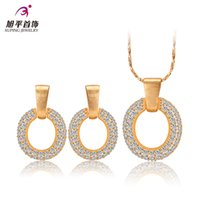 Cheap Xuping diamond jewelry piece fitted gold-plated European and American fashion earrings necklaces female models to send his girlfriend a birt
