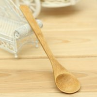 bamboo coffee stirrers - 5Pcs Small Bamboo Spoon Japanese Style Long Handle Health Natural Wooden Crafts Tsp Tea Coffee Stirrer Kitchen Utensil Tools