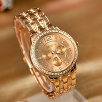 Wholesale 2014 Geneva Watch Full Steel Watches Women dress Rhinestone Analog wristwatches men Casual watch Ladies Unisex Quartz watches
