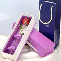 Wholesale Flowers Leaves Lacquer Dipped Gold Plated Trim Genuine Fresh K Rose Gift Decor for Girlfriend Wife Fiancee Mom Lover freeship