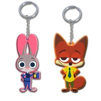 Wholesale 2016 Q version cm zootopia NICK pvc Keychain and Judy rabbit pendant accessories