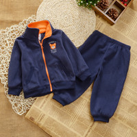 Cheap new Cheap Clothing baby suit autumn sport boys children suits brand cotton Stand collar Coat + pants suits newborn clothes
