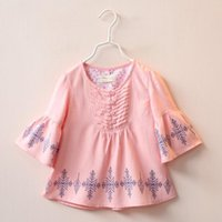 autumn leaves kids - 2016 Spring Kids Girls Cotton Blouse Kids Flare Sleeve Jumper Tops Shirt Leave Printed Children Blouses Clothes Pink White