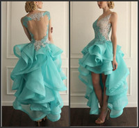 high low prom dresses - 2016 Vestido High Low Backless Prom Dresses Lace Applique Organza Tiered V neck Party Gowns Cheap Short Homecoming Dress