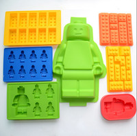 Wholesale Cake Tool pc Set Bruilding Bricks Figure Robot Silicone Mold Sugarcraft Chocolate Topper Ice Cube Fondant For Lego Mould
