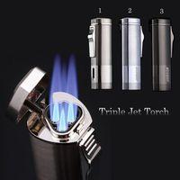 Wholesale New Triple Jet Torch windproof Refillable Butane lighter Cigarette Cigar lighter