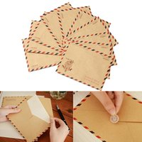 Wholesale 10Pcs Vintage Classic Mini Envelope Air Mail Postcard Letter Greeting Paper Storage Stationery For Scrapbooking