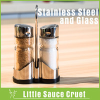 glass bottle olive oil - Set of Olive Oil Vinegar Clear Glass Bottle Stainless Steel Cap Salt Sugar Pot Glass Cruet Seasoning Box Kitchen Set Spice Jar
