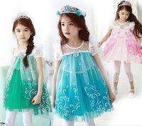 Cheap frr DHL new arrival frozen dress for child frozen princess dress costume frozen elsa costume kids girl short sleeve frozen lace dress W0039