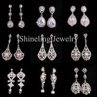 art deco dangle earrings silver - Elegant Pouplar Wedding Earring Bridal Earring Vantage Rhinestone Crystal CZ Earring Art Deco Zircon Dangle Earring
