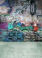200 см * 150 см виниловый фон Граффити Стены и кирпичный пол Компьютер окрашены Дети фон фотографии