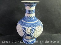 porcelain - Chinese blue and white porcelain features delicate openwork vase