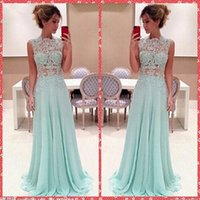 beautiful ladies tops - Sexy See Through Bodice Sky Blue Lace Appliques A Line Chiffon Prom Dresses Sweep Train Top Sale For Beautiful Ladies Custom Made Cheap