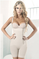 Wholesale Women plus size full body shapewear firm slimming bodysuit lingerie black nude side zipper lace hem pants corset body shaper
