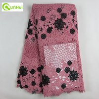 lace fabric wholesale - Most fashion African embroidery Afrika cord lace fabric for dress Latest swiss voile dry lace fabric multi color