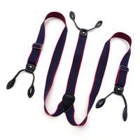 Wholesale Original cm Width Mens Buttons Suspenders New Fashion Brace for Women Navy and Red with buttons