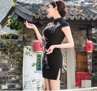 Wholesale Spring and autumn and summer short sexy Qipao dress embroidered cheongsam dress stretch tuxedo party daily Chinese dress