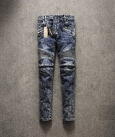 Wholesale Fashion Mens Balmain Vintage Skinny Biker Denim Jeans Pants Blue Washed Size