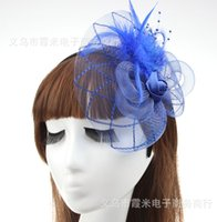Wholesale MEW Fashion Fascinators Mini Top Hat Hair lace feathers Wedding Party Hair Accessories color F022