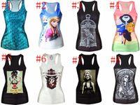 Cheap free ship 24 Styles Women's Vest European Digital Printing frozen Sleeveless Tank Tees Fashion Characters Ladies cat Tops Clothing 5pcs lot