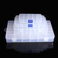 Wholesale 4 Size Compartment Slot Clear Electronic Components Storage Organizer Assortment Bead Box Plastic Case Convenience order lt no