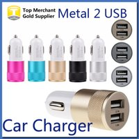 Wholesale Metal Dual USB Port Car Adapter Charger Universal Volt Amp for Apple iPhone iPad iPod Samsung Galaxy Moto Nokia Htc