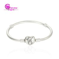 bead bracelet clasp - Sterling Silver With Heart Clasp made of sterling silver charm bracelets for loose beads No90 YL006