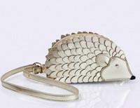 animal cell shapes - AE889 Cute Sweet hedgehog animal shaped patchwork Women lady girl messenger bag crossbody sling bag genuine leather gold gift k