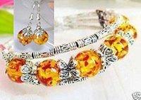beautiful handmade bracelets - Incredibly beautiful handmade Tibet Tibetan silver amber bracelet earrings