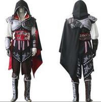 achat en gros de ezio costume-Assassin's Creed II 2 Ezio noir drapeau Cosplay Auditore da Firenze Black Edition Cosplay Costume fait sur mesure n'importe quelle taille pour la fête d'Halloween