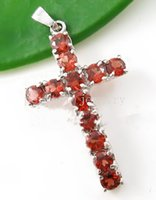 Wholesale Cross pendant Garnet necklace pendant Real natural garnet sterling silver Perfect jewerly Form men or women Fine jewelry DH