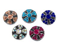 Wholesale NOOSA Amsterdam mm mini rhinestone flower vintage noosa Interchangeable Snap Buttons DIY Jewelry Ginger Snap colors B417