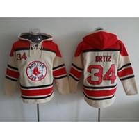 Wholesale Red Sox Baseball Hoodies Ortiz Baseball Hoodies Beige Baseball Sweaters Men Baseball Hoodies Warm Baseball Jackets Hot Sale