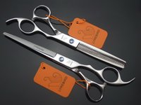 Wholesale Hair scissors Cutting INCH and Thinning INCH LYREBIRD Silvery scissors Hairdressing scissors blue stone Simple packing NEW