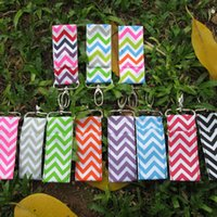 Wholesale High Quality fashion Ribbon Material Chevron Chapstick holder chevron key chain with different available colorsDOM103002