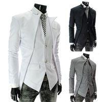 2015 Hommes Costumes conception asymétrique faux deux garçons costume pièce de loisirs pour hommes nouveaux costumes de mariage convient CY124