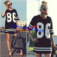 Cheap New Arrival Summer Women Celebrity Oversized 86 American Baseball Tee T Shirt Top Short Sleeve Loose Dress, Black