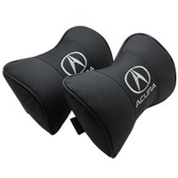 acura rdx accessories - cushion New arrived set automobiles styling Genuine leather auto logo car neck pillow seat cushion For acura ILX MDX RDX RL TL